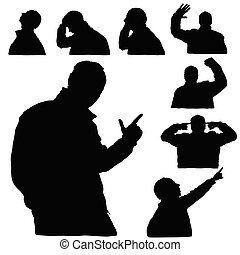 man silhouette body set in various poses in black color illustration