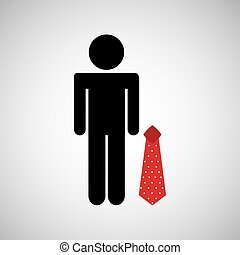 man silhouette business and red tie design icon