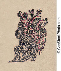 Man silhouette carrying a human heart on his back