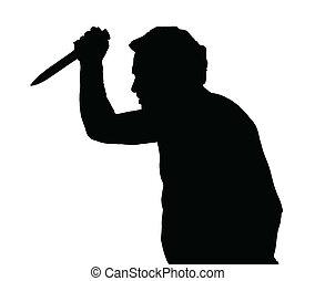 Man Silhouette European Stabbing with Knife - Man Silhouette...