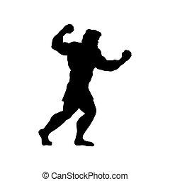 man, silhouette, gaat, vechten