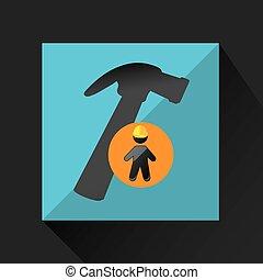 man silhouette helmet and hammer design graphic