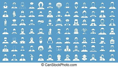 Man silhouette icon blue set vector