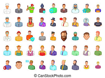 Man silhouette icon set, cartoon style