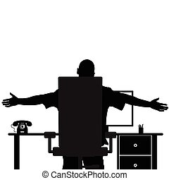 man silhouette in office black illustration