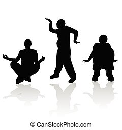 man silhouette in various poses