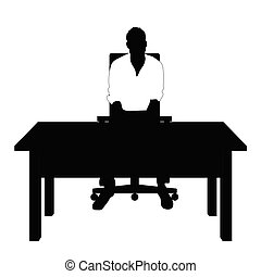 man silhouette in white t shirt sitting on chair illustration