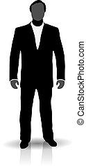 man, silhouette, kostuum