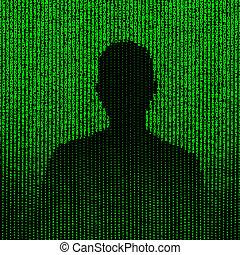 Man silhouette matrix illustration