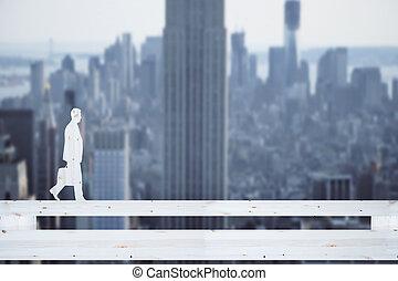 Man silhouette on abstract bridge