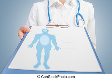 Doctor is showing clipboard with blank sheet on which the silhouette of a man, concept of rehabilitation