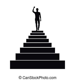 Man silhouette on the top of stairs
