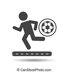 man silhouette running with ball soccer icon