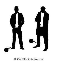man silhouette set with prision ball illustration