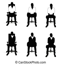 man silhouette siting on chair in black and white color illustration