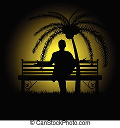 man silhouette sitting and posing on bench illustration