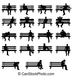 man silhouette sitting on bench set in black color illustration