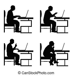 man silhouette sitting on chair and work on laptop set illustration