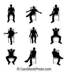 man silhouette sitting on grey chair set illustration