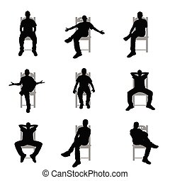 man silhouette sitting on grey chair set illustration