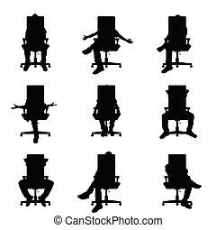 man silhouette sitting on office chair set illustration