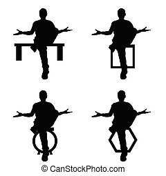 man silhouette sitting set in black color illustration
