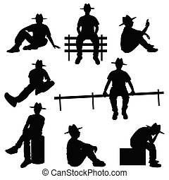 man silhouette sitting with hat illustration