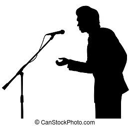 man silhouette speech to microphone. on stage. isolated.