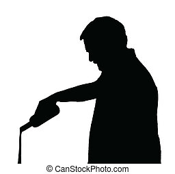 Man Silhouette Stubby European Pouring Drink Out of a Bottle
