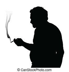 Man Silhouette Stubby European Smoking Cigarette - Man...