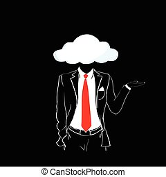 Man Silhouette Suit Red Tie Cloud Head Black Background