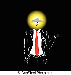Man Silhouette Suit Red Tie Cloud With Lightning