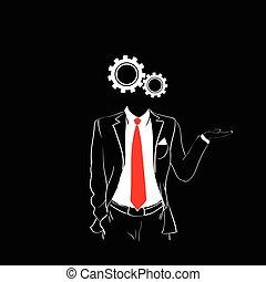 Man Silhouette Suit Red Tie Cog Wheel Head Black
