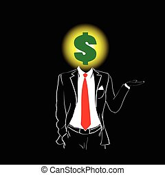 Man Silhouette Suit Red Tie Dollar Sign Head Black Background