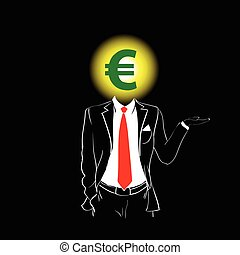 Man Silhouette Suit Red Tie Euro Sign Head Black Background