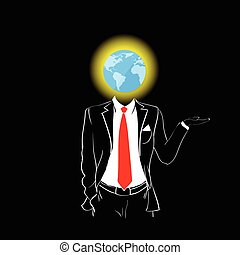 Man Silhouette Suit Red Tie Globe Earth Head