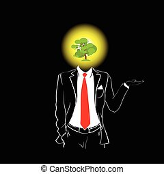 Man Silhouette Suit Red Tie Green Tree Head Concept