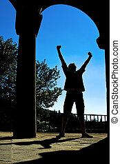 man, silhouette, uitdrukken, overwinning