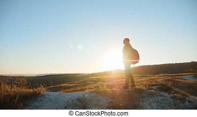 man silhouette walking tourist hiking adventure climbers...