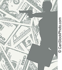 man silhouette with gun and money