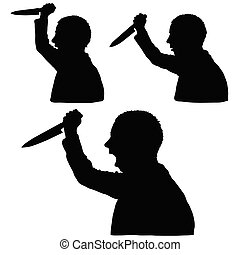 man silhouette with knife in hand set illustration
