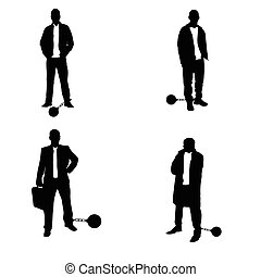 man silhouette with prision ball in black illustration