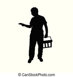 man silhouette with shoping basket illustration