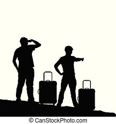 man silhouette with travel bag illustration