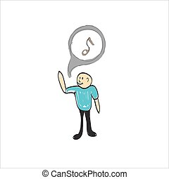 man singing music illustration