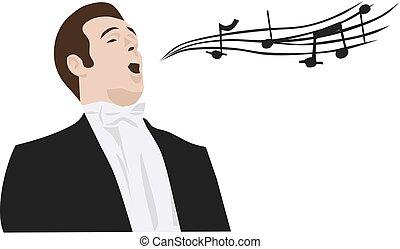 Man singing opera, vector