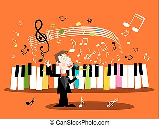 Man Singing Song with Piano Keyboard and Notes. Vector Singer and Music Staff.