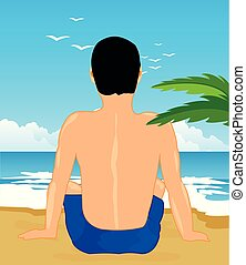 Man sits back on song beside ocean - Tropical coast with...