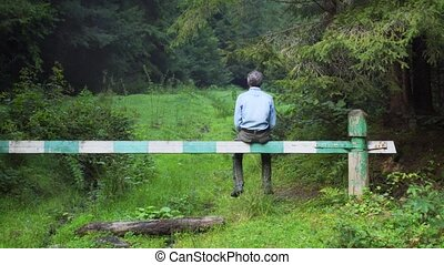 A man sits on a wooden barrier in a spruce forest