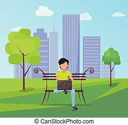Man Sits on Bench in City Park with Modern Laptop